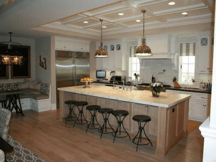Contemporary Kitchen Island with Seating for 6