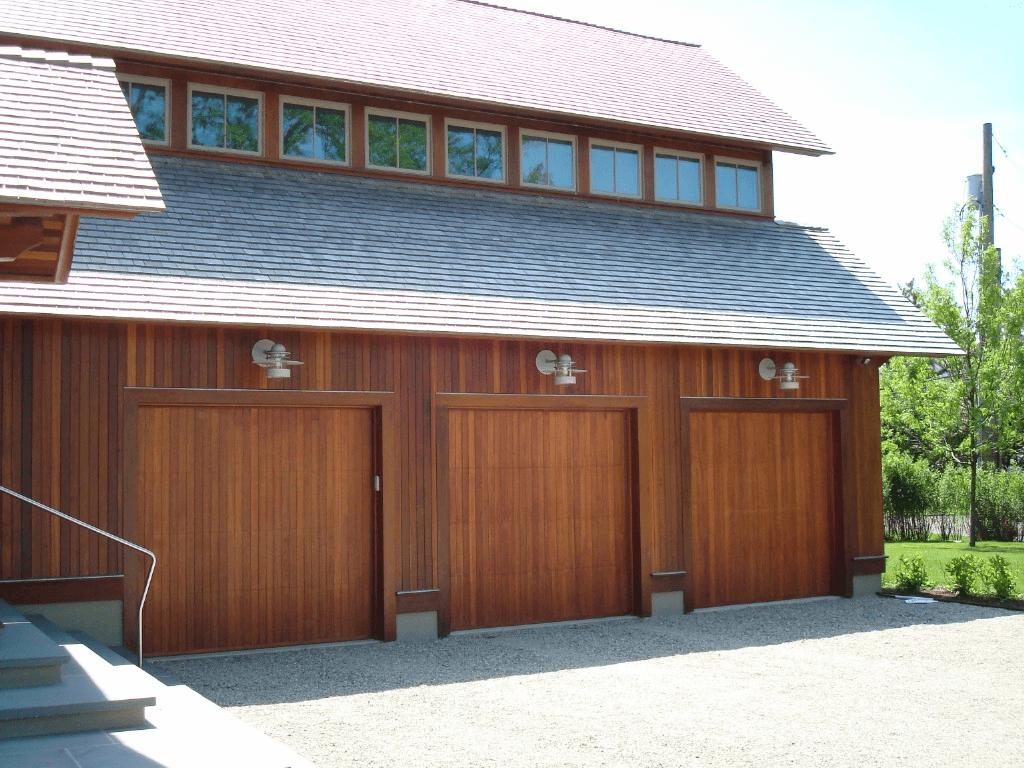Contemporary garage door design with meranti mahogany wooden materials