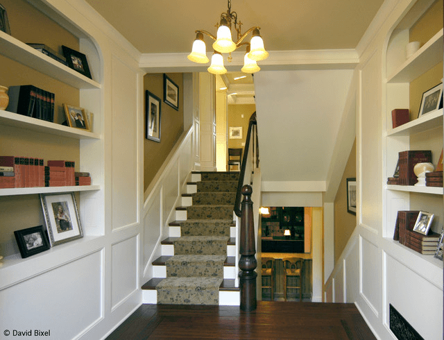 Decorate Stairs and Landing with shelves for photo frames