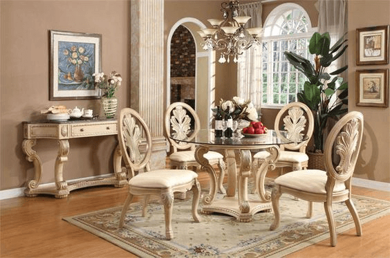 Dining room side table decor with roun table top glass