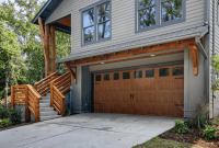 Faux wooden Garage Door Decorating Ideas with glass windows