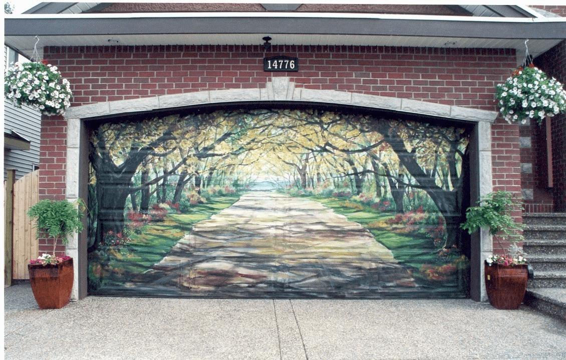 Garage door mural