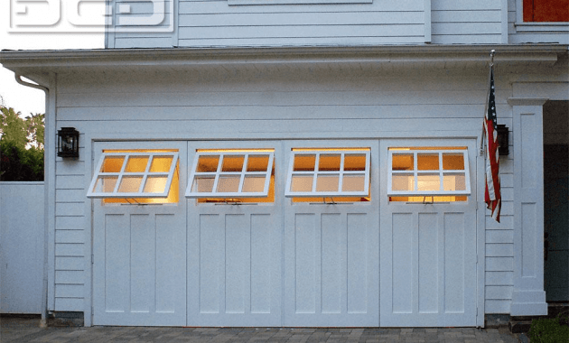 Garage door with windows that open