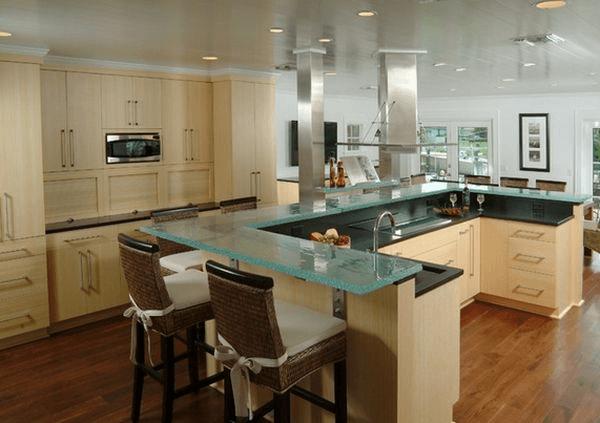 Glass top kitchen islands