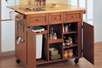 Kitchen Island Cart with Trash Bin