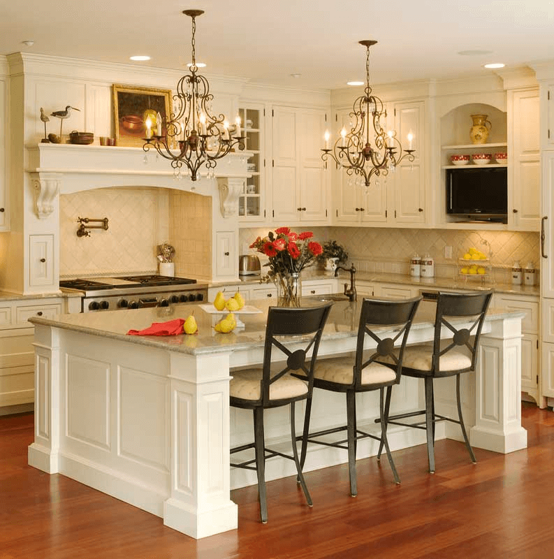 Kitchen Island with Seating for 3