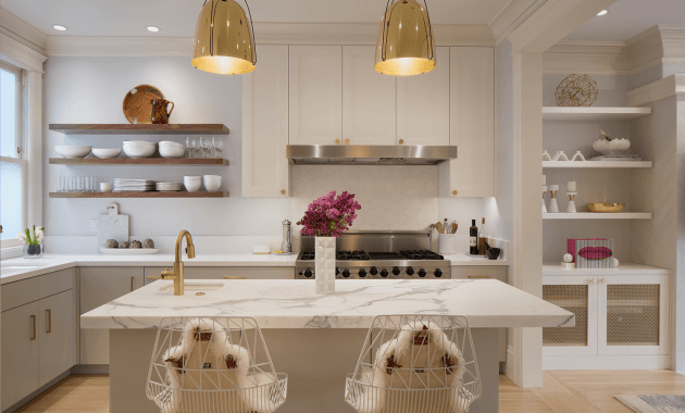 Kitchen island marble countertop