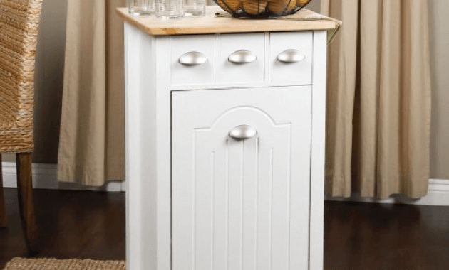 Kitchen island trash can holder