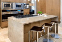 Kitchen island with stove top and seating