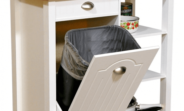 Kitchen island with trash can storage