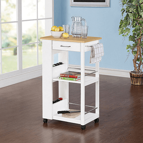 Mainstays kitchen island cart white