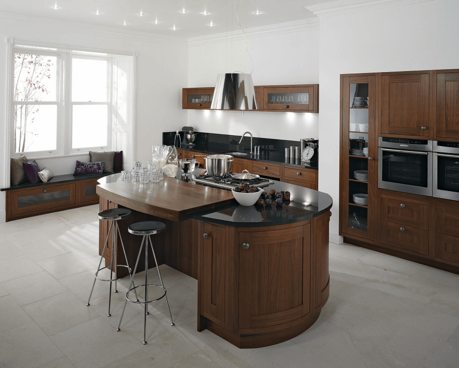 Modern wooden Round Kitchen Island with Storage granite top