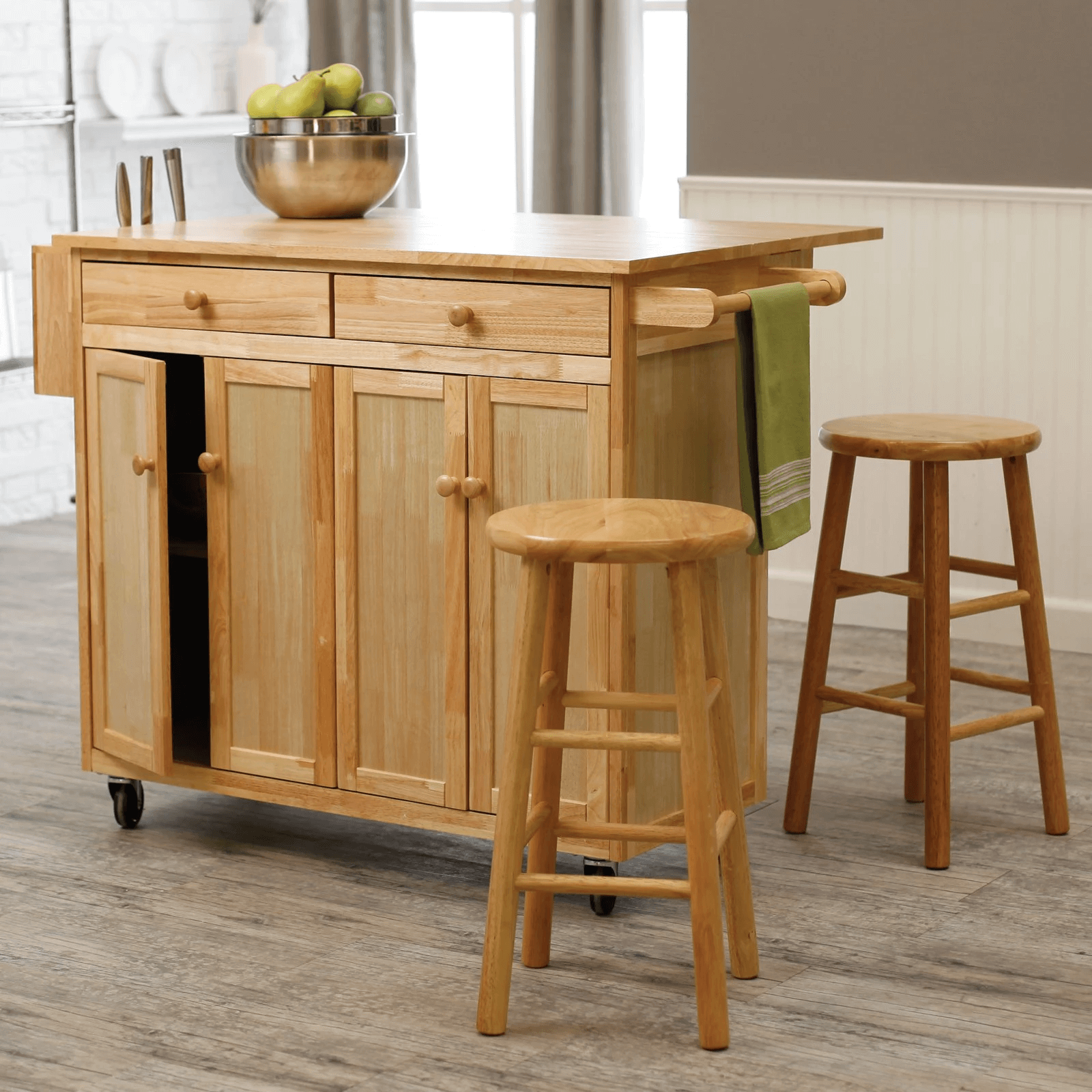 Natural wooden Kitchen Island Cart with Stools