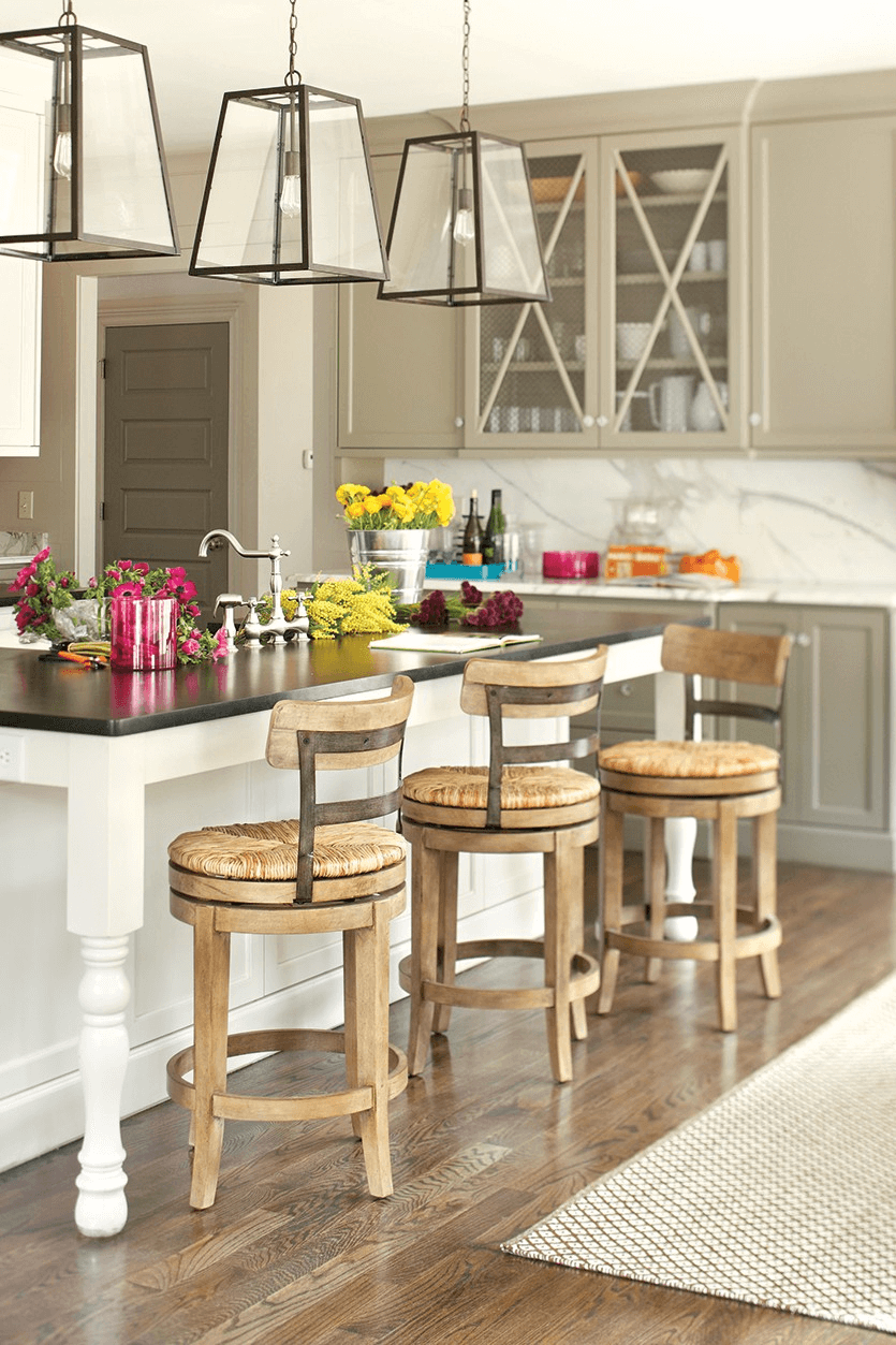 Nice kitchen island table with bar stools