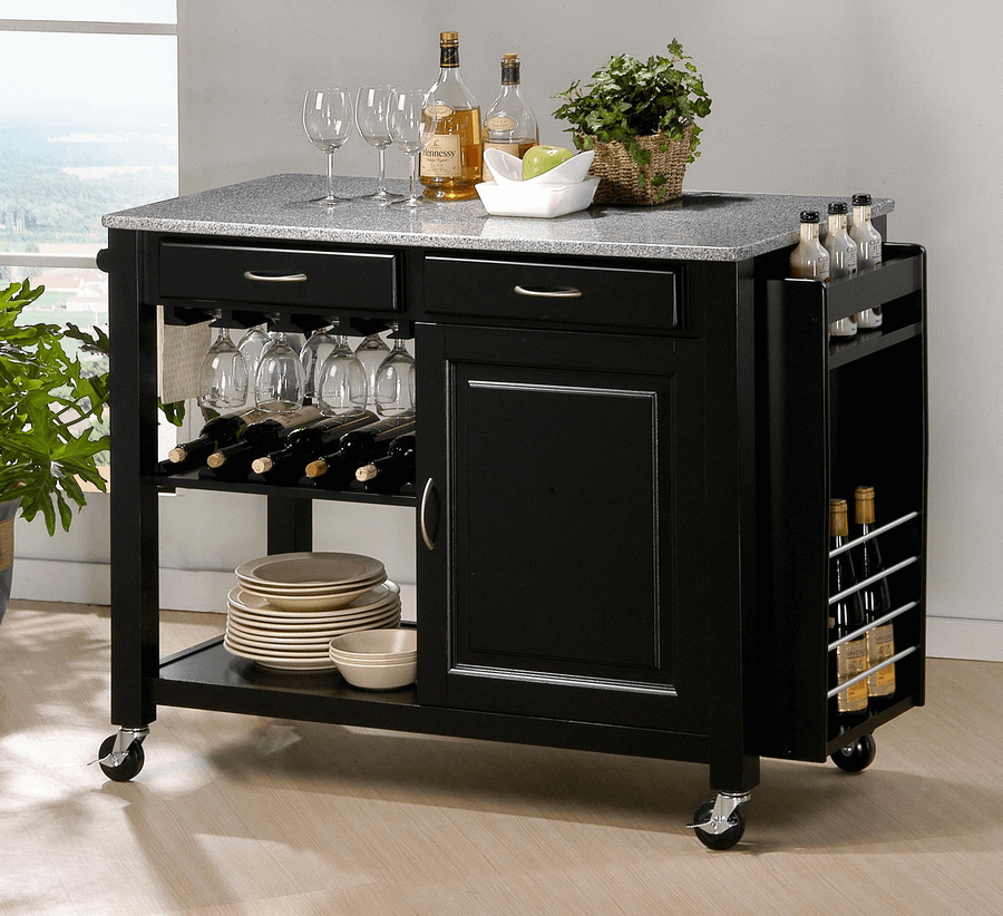Portable Kitchen Island with Wine Storage black wooden and granite top