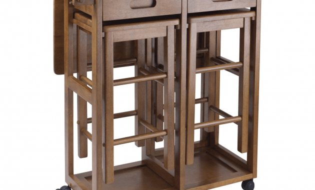 Portable kitchen island with drop leaf