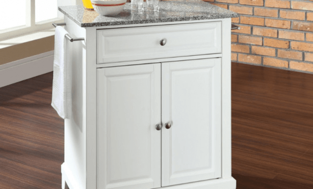 Portable kitchen island with granite top