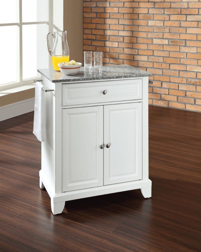 Portable kitchen island with granite top