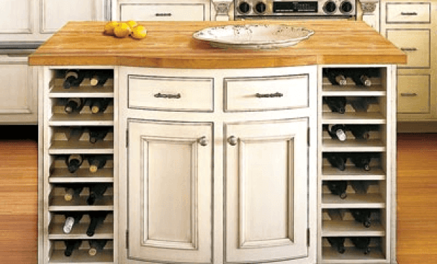 Small Kitchen Island with Wine Storage wooden top