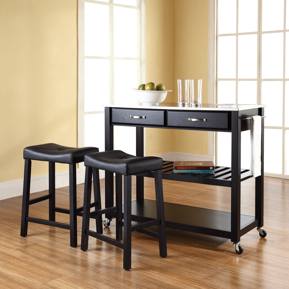 Stainless steel top black wooden kitchen island cart stools