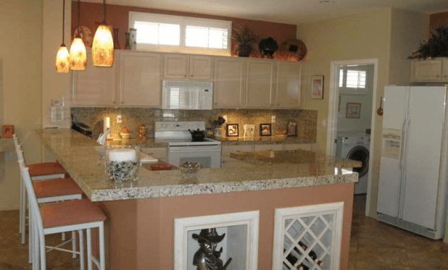 Sweet L Shaped Kitchen Island Breakfast Bar Design with granite counter top