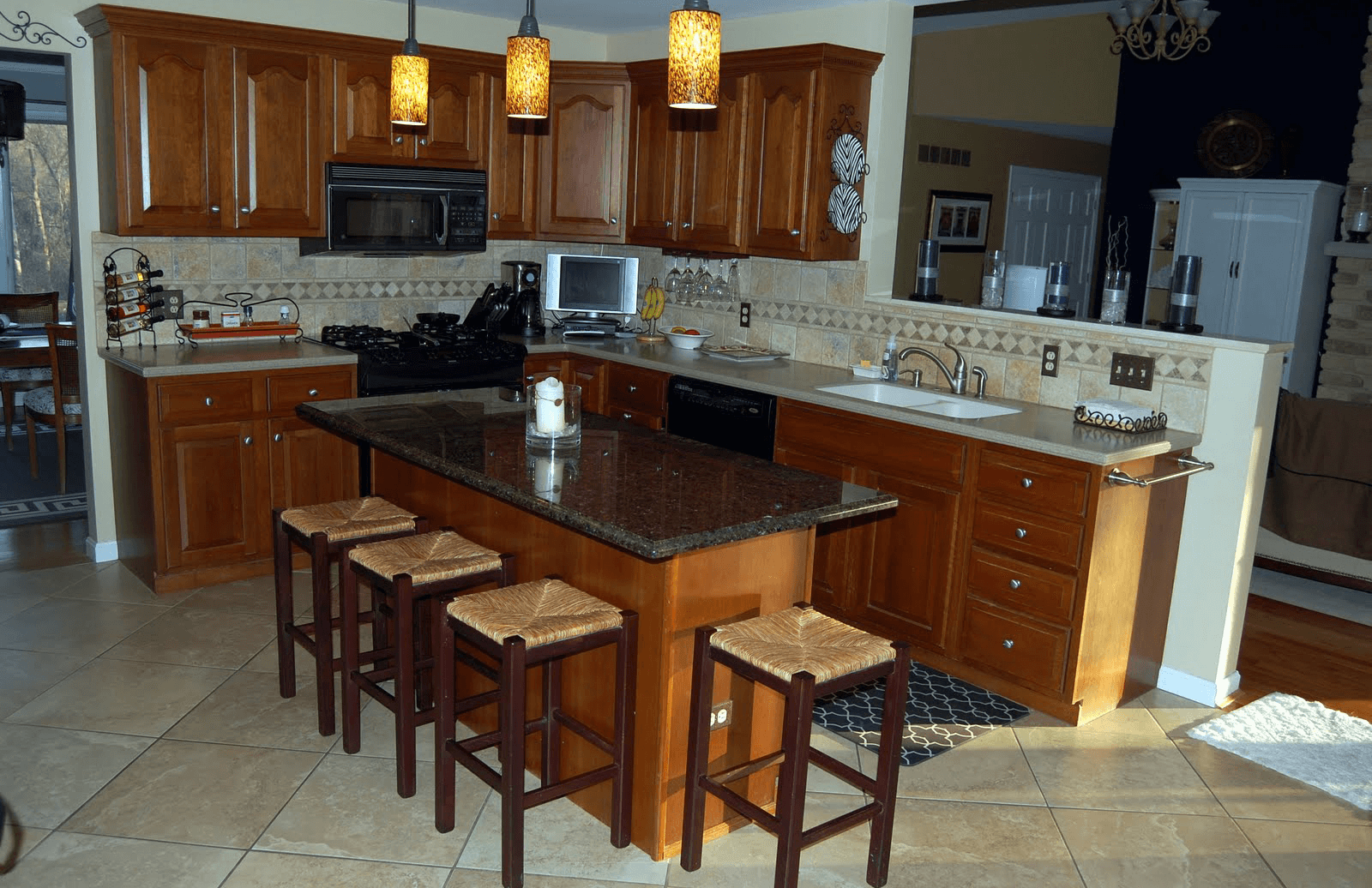 Kitchen Island With Granite Top And Breakfast Bar 28
