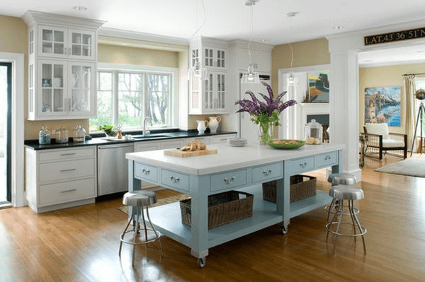 White Portable kitchen island with seating for 4 or more and flower decoration ideas