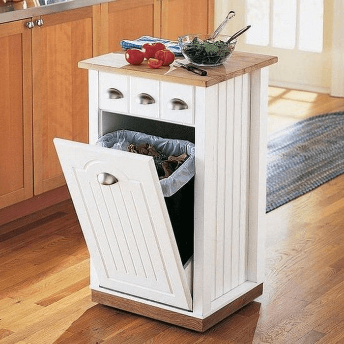 White small Kitchen island with trash can storage and wooden top