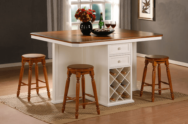 Wood Kitchen Island Bar Table