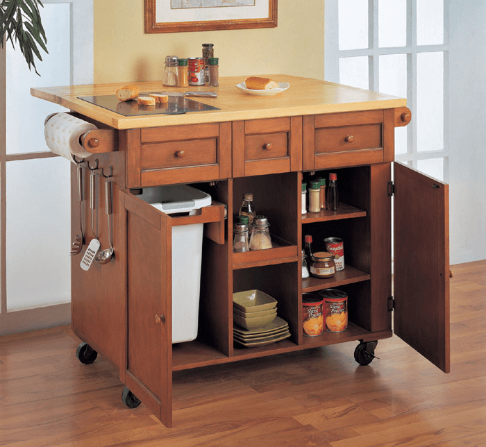 Wooden Kitchen island with trash bins on wheels