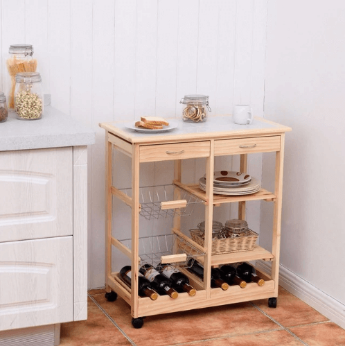movable small kitchen island without seating Goplus Rolling Wood Kitchen Trolley Cart Island