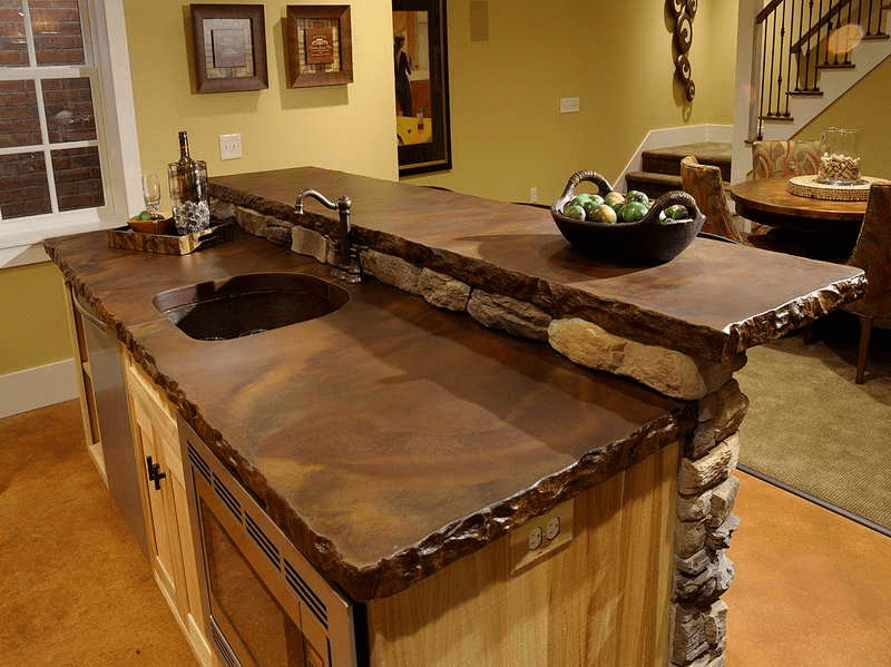 Antique pattern wood countertop decoration