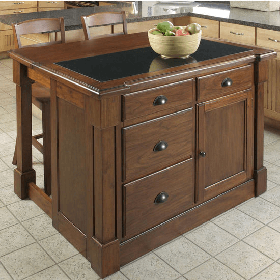 Aspen rustic cherry kitchen island with 2 stools