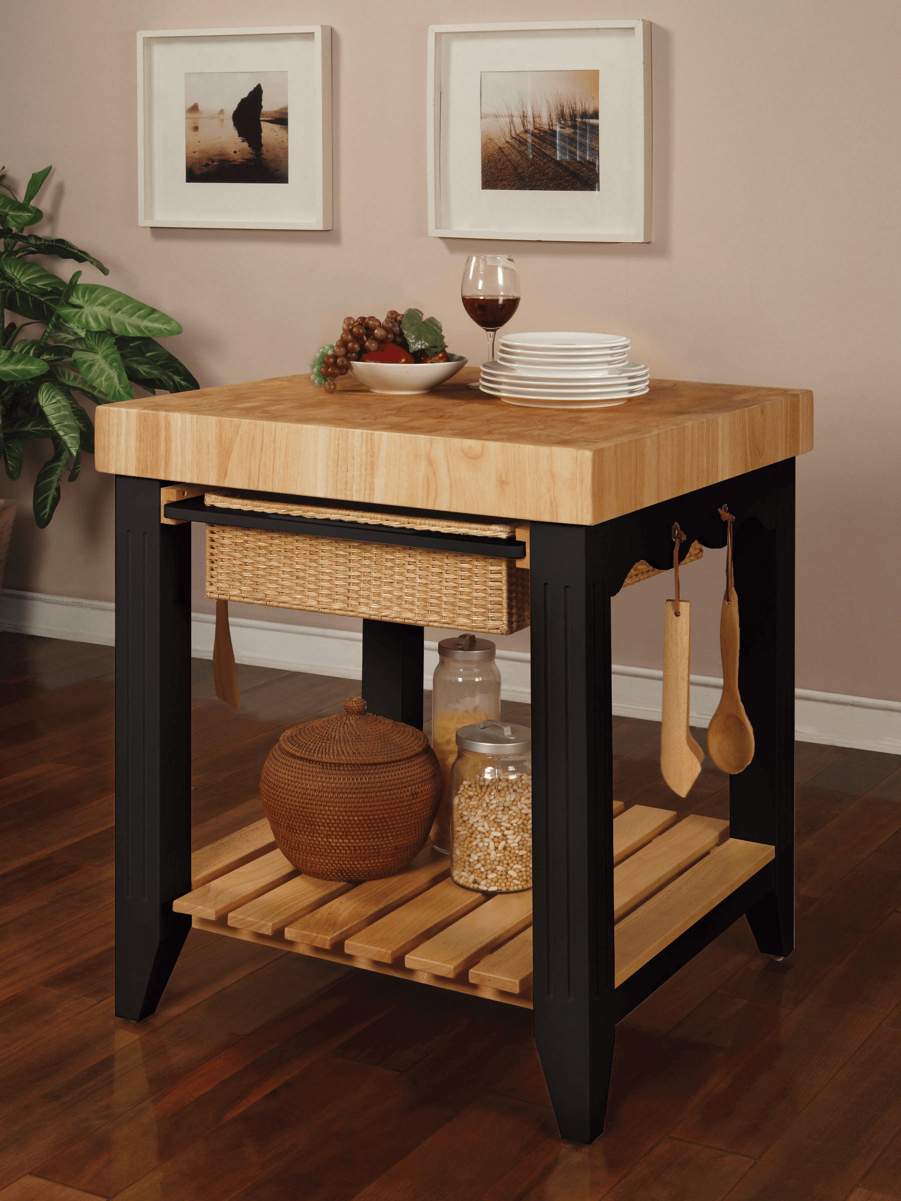 Black leg kitchen island butcher block top with cart in small design