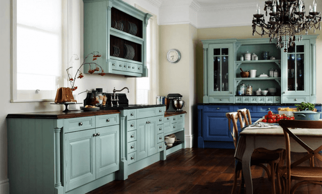 Blue paint kitchen cabinet glaze colors rustic design
