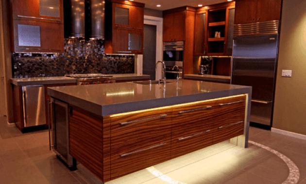 Brown kitchen cabinets toe kick