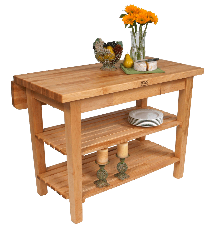 Butcher block natural wood kitchen island drop leaf and flower decoration