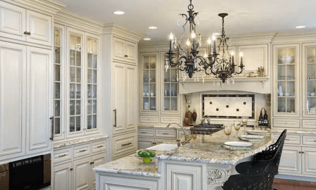 Chandeliers over kitchen islands hanging lights