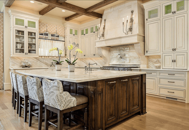 French kitchen island marble top traditional wooden cabinets ...