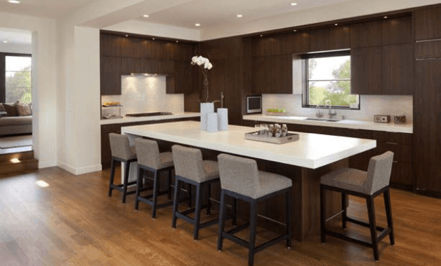 Kitchen Island Overhang with seating and cailing lighting