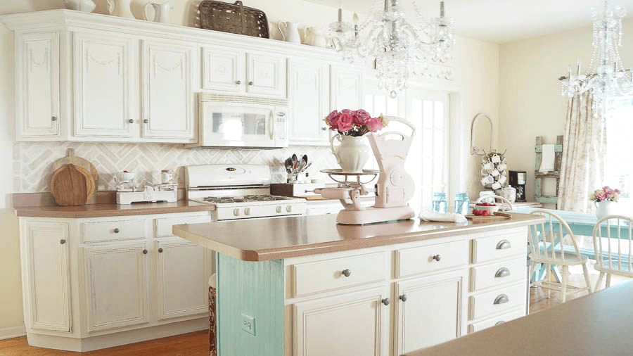 Kitchen cabinet chalk paint white color ideas