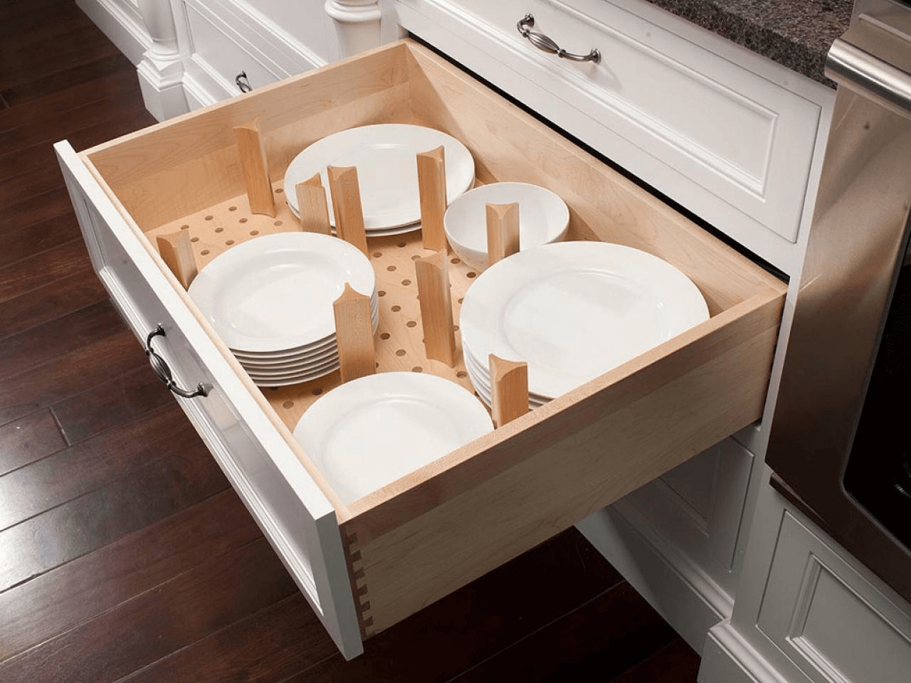 Kitchen cabinet drawer bumpers CI Mullet Cabinetry Kitchen Drawer Plate Dividers