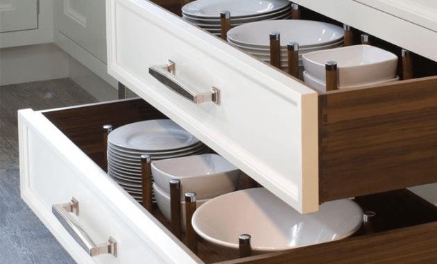Kitchen cabinet drawer plate organizer