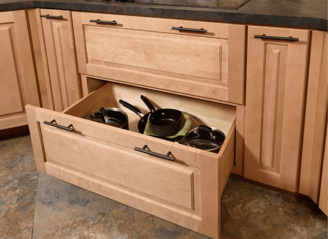 Kitchen cabinet drawers for pots and pans