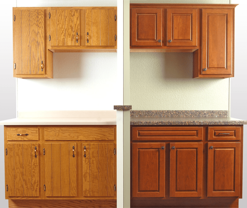 Kitchen cabinets refacing before and after and the cost for Cabinet door refacing cost