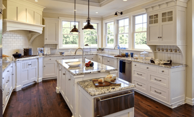 Choices of kitchen floors with white vs dark cabinets for Kitchen countertops and cabinet combinations