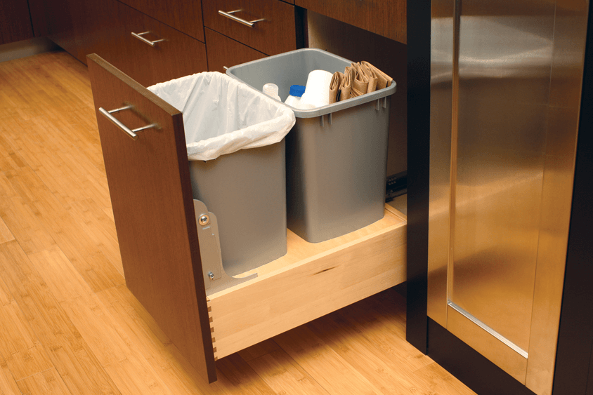 Kitchen cabinets garbage drawer trash recycling pullout