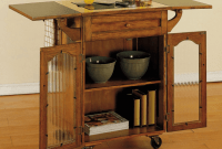 Kitchen island on wheels with drop leaf