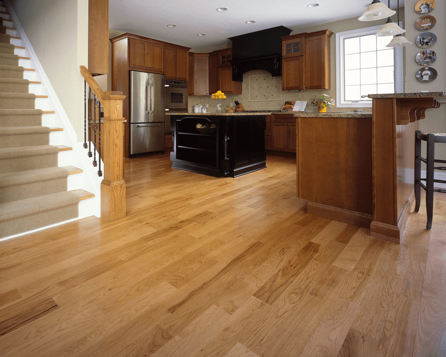 Kitchen wood floor varnishing for make good design appearance