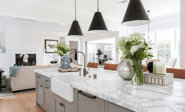 Long Kitchen Island Marble Top white